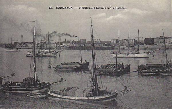 Bordeaux Morutiers et Gabares sur la Garonne ©