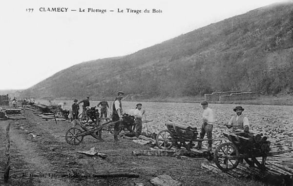 Bois Transport Clamecy Le flottage Tirage du bois  ©