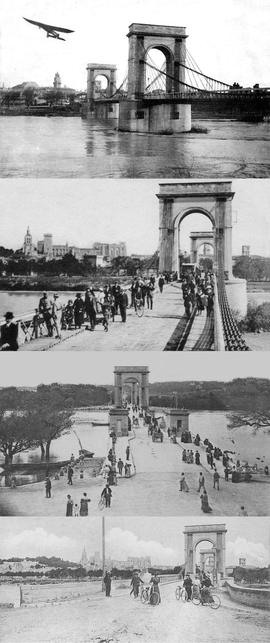 Avignon - pont suspendu détruit à la seconde guerre mondiale ©